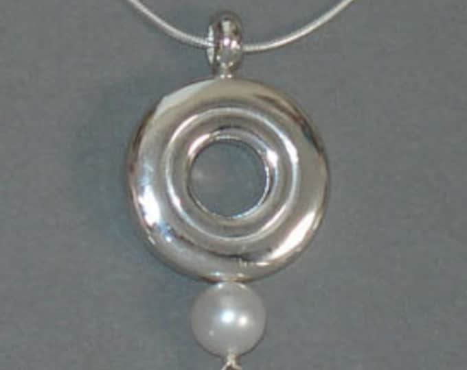 Flute Jewelry,Sterling Silver Flute Key,  Necklace - Open Hole Flute Key Single Pearl Music Pendant