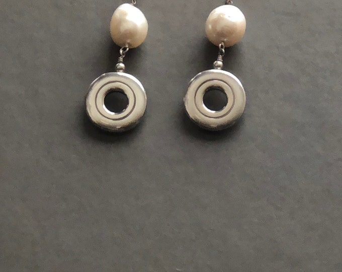 Flute Jewelry, Sterling Silver Flute Key, Earrings - Open Hole Key with Huge Pearl Sterling Silver Post Earrings
