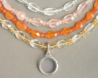 Clarinet Ring Key on Faceted Gemstone Necklace