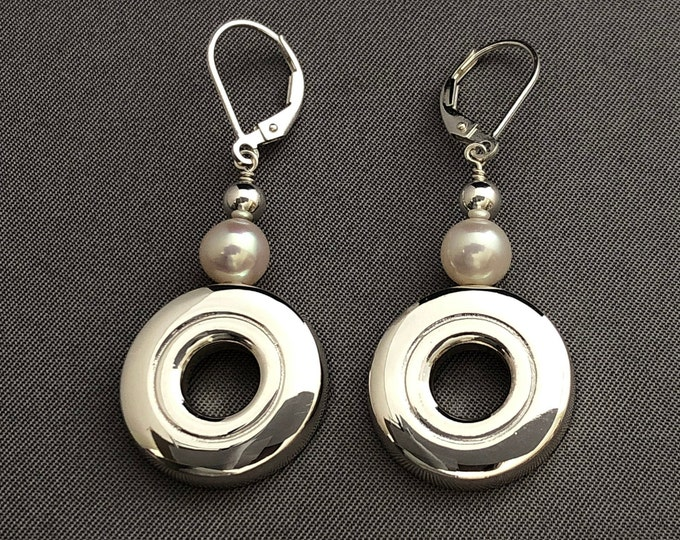 Flute Jewelry, Sterling Silver Flute Key,  Earrings - Open Hole Flute Key and Pearl Music Earrings