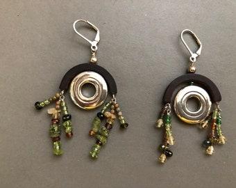 Flute Jewelry, Sterling Silver Flute Key, Earrings - New Orleans Flute Key Gemstone & Wood Bead Fringe Earrings