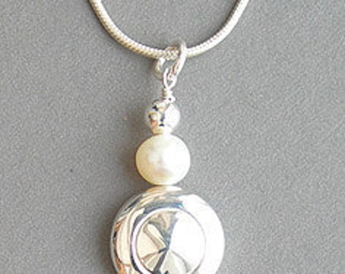 Flute Jewelry, Sterling Silver Flute Key, Necklace - Tiny Trill Flute Key Pendant with a Single Pearl, Music Note Jewelry