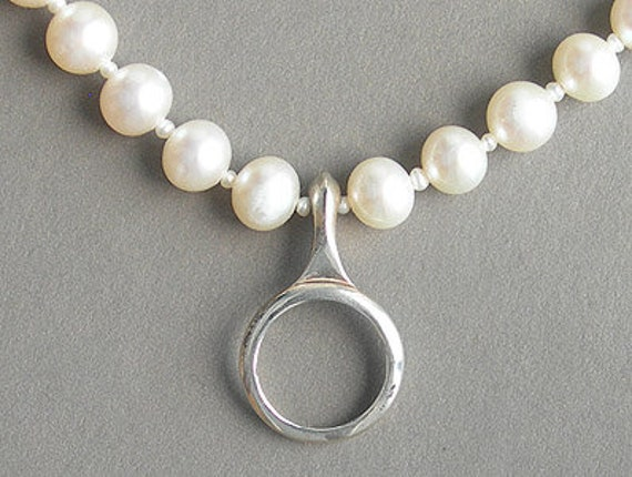 Clarinet Ring Key on Pearls Necklace