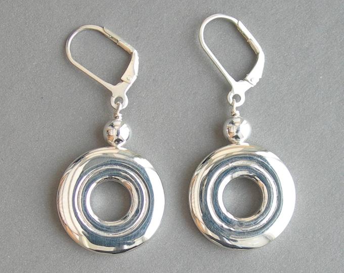 Flute Jewelry Earrings; Solid Sterling Silver Open Hole