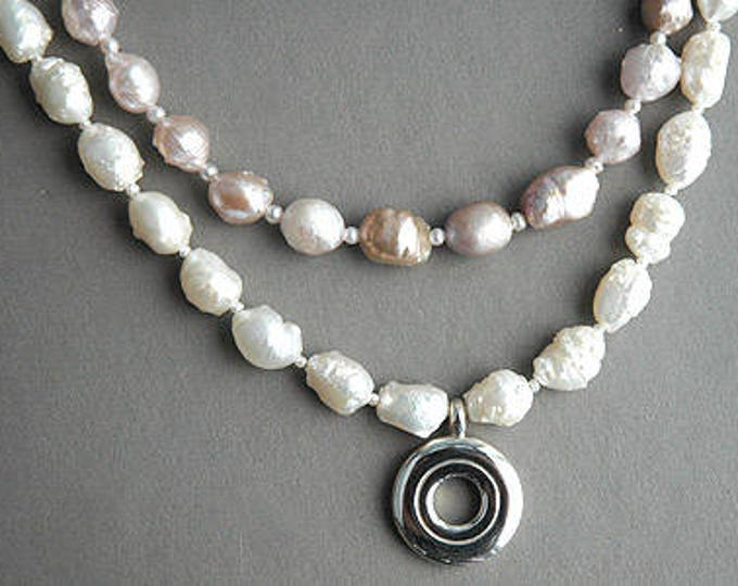 Flute Jewelry, Sterling Silver Flute Key, Necklace - Rosebud pearls and open hole Pendant