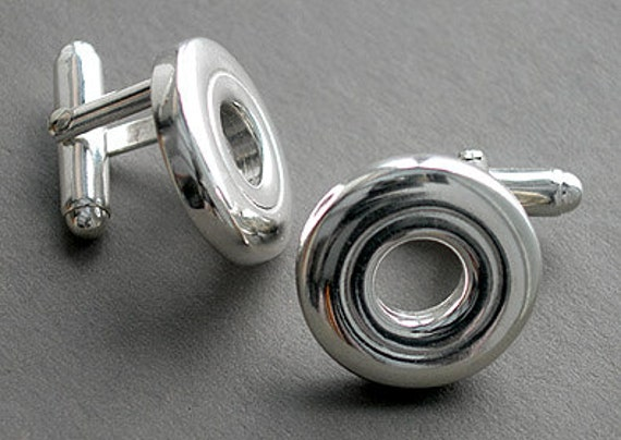 Open Hole Flute Key French Cufflinks (Item: P104)