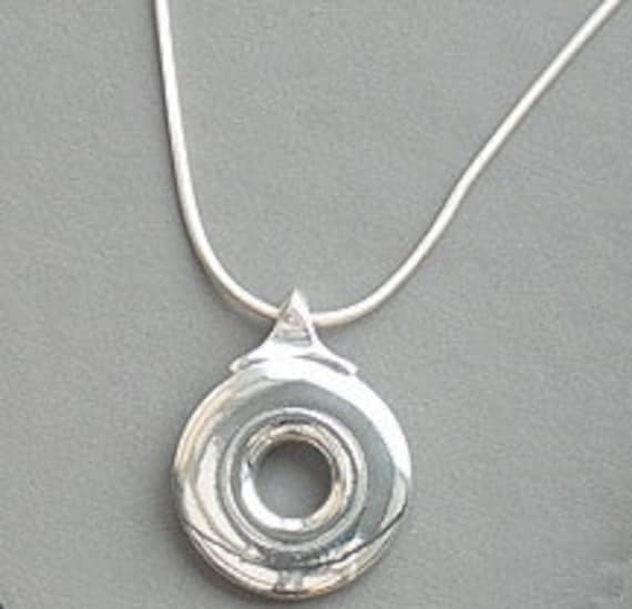 Bass Open Hole Flute Key Necklace On Silver Chain (Unisex)