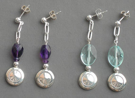 Tiny Trill Flute Key Earrings with Amethyst or Quartz and Chain