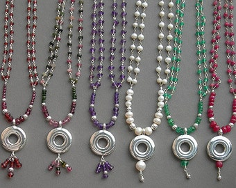 Flute Jewelry, Sterling Silver Flute Key, Necklace - Open Hole Key Chain and Dangles Gemstone Music Pendant