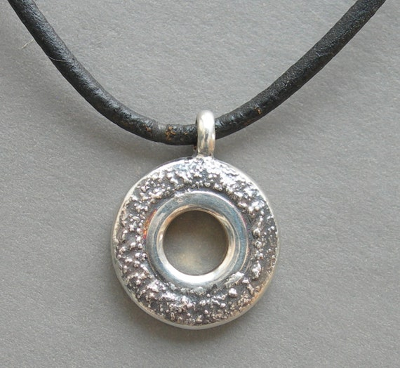 Open Hole Flute Key Necklace with Silver Dust-UNISEX