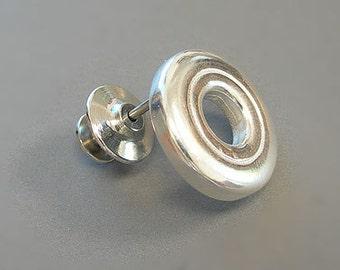 Flute Jewelry, Sterling Silver Flute Key, Lapel Pin - Open Hole Music Lapel Pin