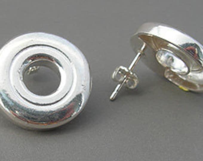 Flute Jewelry, Sterling Silver Flute Key, Earrings - Open Hole Flute Key Post Earrings