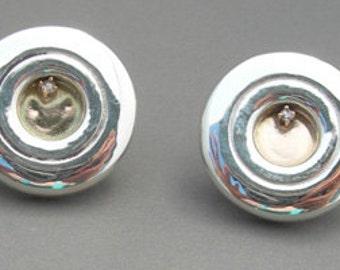 Flute Jewelry, Sterling Silver Flute Key, Earrings - Silver and Gold Earrings, Music Lover