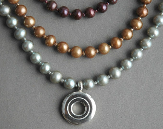 Flute Jewelry, Sterling Silver Flute Key, Necklace - Open Hole Flute Key Necklace with Colored Pearls
