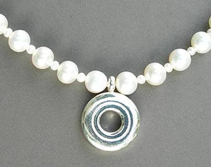 Flute Jewelry,  Sterling Silver Flute Key, Necklace - Open Hole on 6.5mm White Fresh Water Pearls Pendant