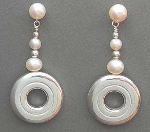 Open Hole Flute Key and Pearl Flute Earrings