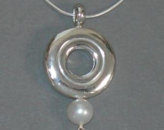 Flute Jewelry,Sterling Silver Flute Key,  Necklace - Open Hole Flute Key Single Pearl Music Pendant