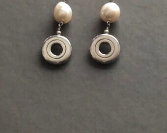 Flute Jewelry, Sterling Silver Flute Key, Earrings - Open Hole Key with Huge Pearl Sterling Silver Post Earrings
