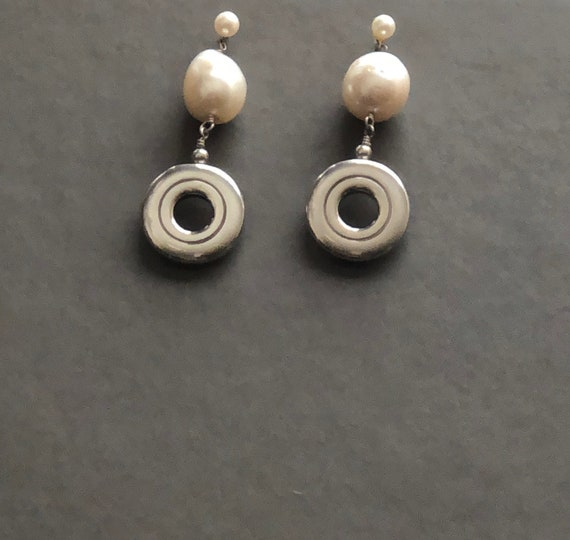 Open Hole Flute Key with Huge Pearl Sterling Silver Earrings