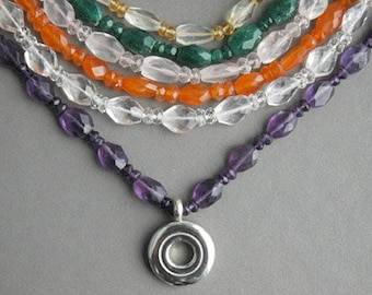 Flute Jewelry, Sterling Silver Flute Key, Necklace - Faceted Gemstone Flute Key Necklaces Multi Color Musical Lover