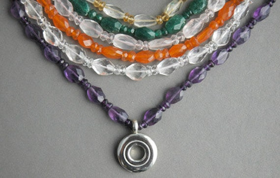 Faceted Gemstone Flute Key Necklaces