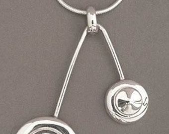 Flute Jewelry, Sterling Silver Flute Key, Necklace - Open Hole & Trill Pendant Avant Garde Music Lover Gift