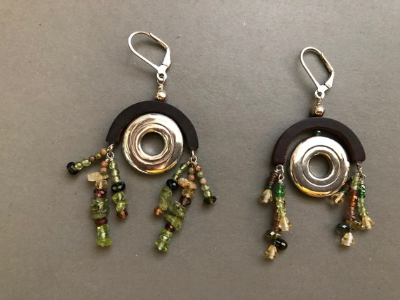 New Orleans Flute Key Gemstone & Wood Earrings