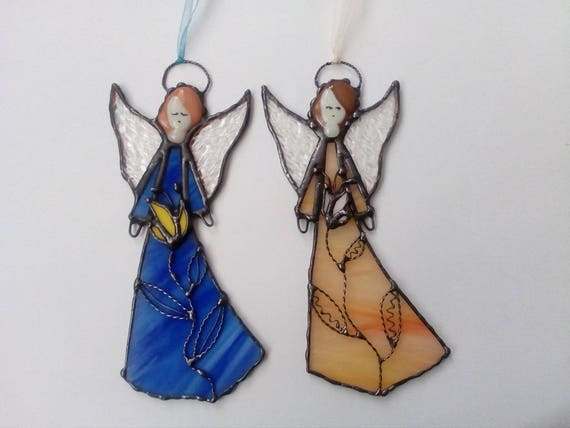Stained Glass Angel Hanging Angel Tiffany Style Guardian Etsy