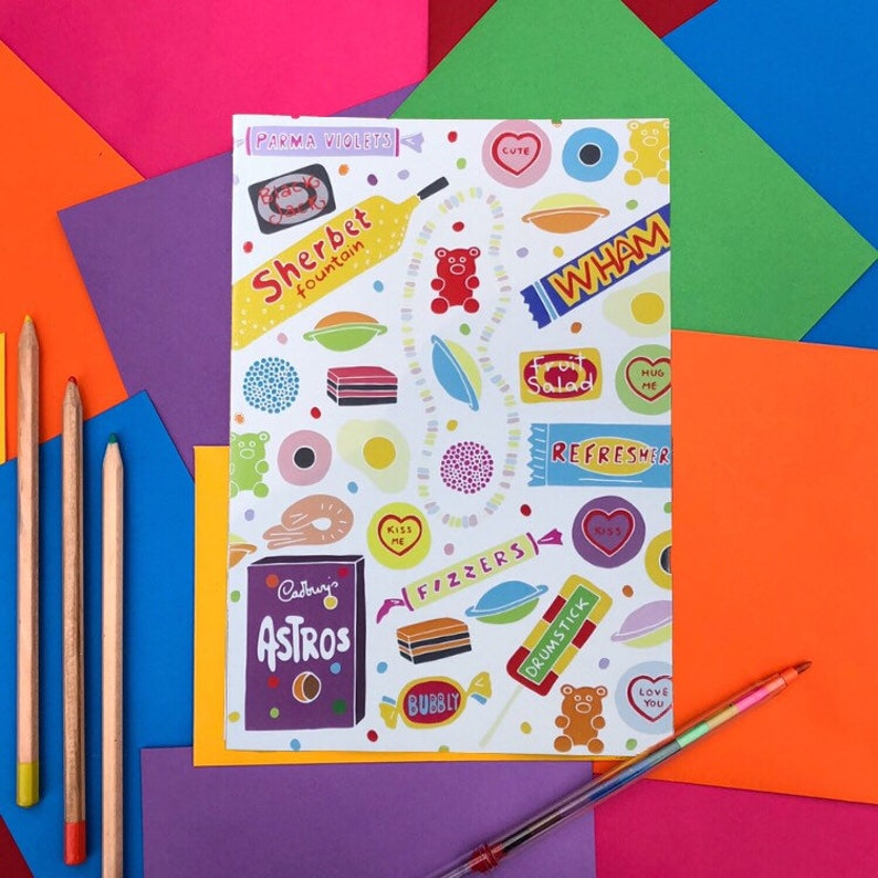 Retro Vintage Sweets Note Book  A5  Hand Drawn image 0