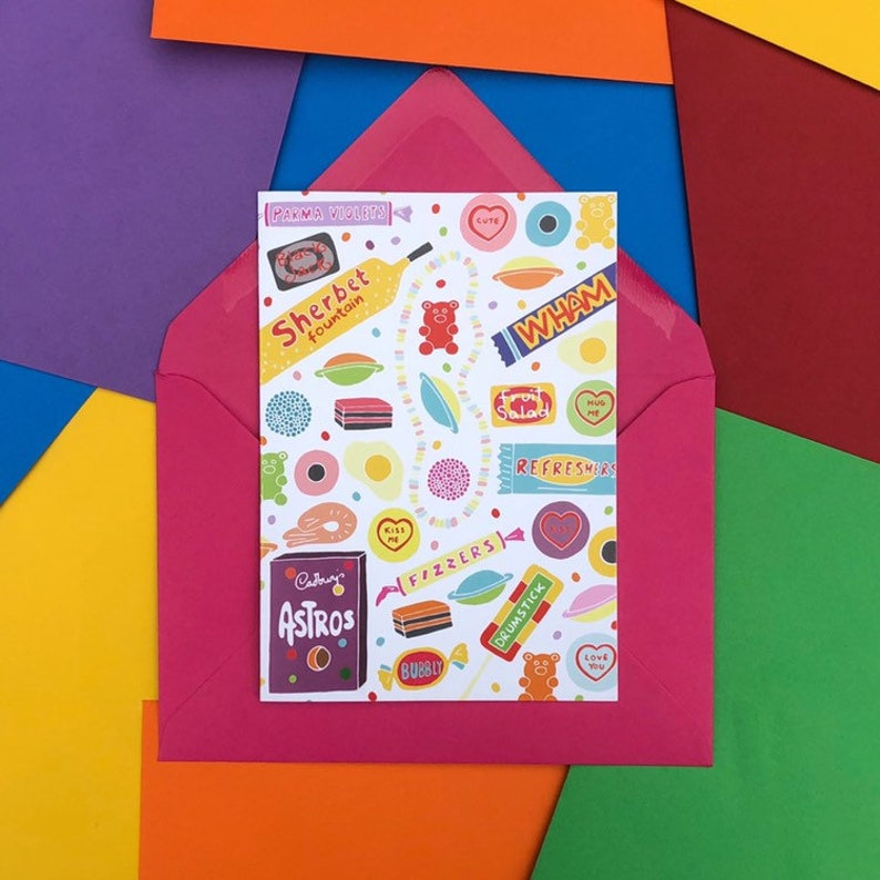 Retro Sweets Card  A6  Hand Drawn image 0