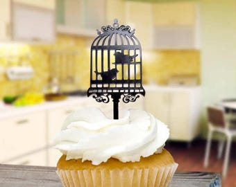 Bird Cage Cupcake Toppers x8 Baking Pick Decoration
