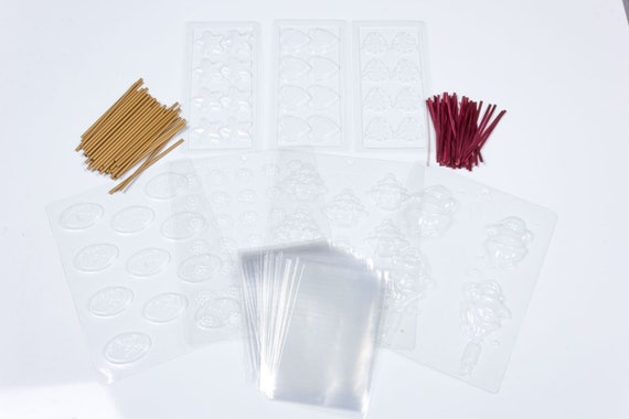 Christmas Chocolate Moulds Multi Pack Goody Bag Poly Lollipop Sticks twist Ties