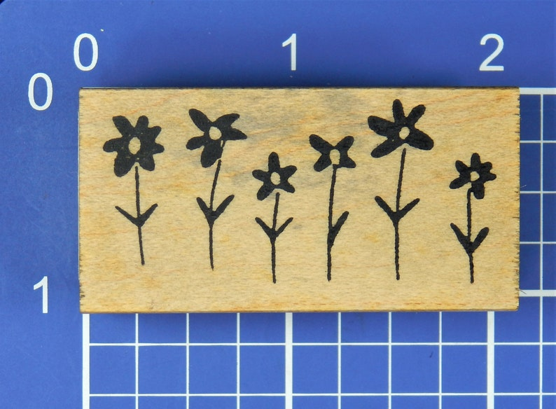 Mounted Rubber Stamp by Savvy Stamps ROW OF FLOWERS