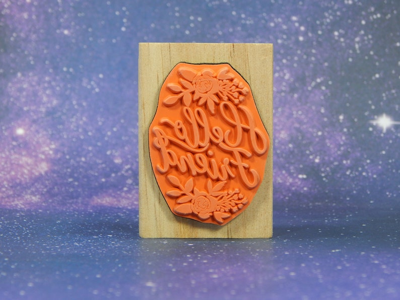 Mounted Rubber Stamp by Recollections HELLO FRIEND