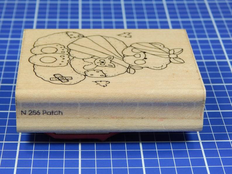 JRL Design Co BANDAGED BEAR Mounted Rubber Stamp