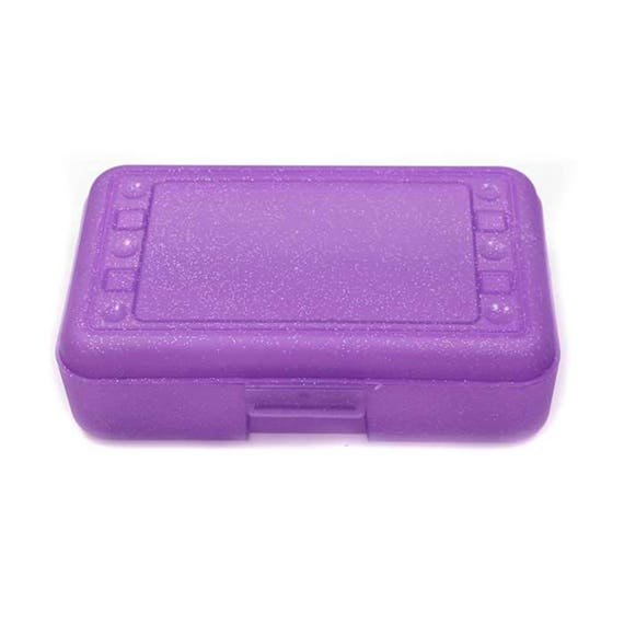 BLANK purple sparkle pencil box romanoff box schoool supplies office supply pencil box kids pencil box