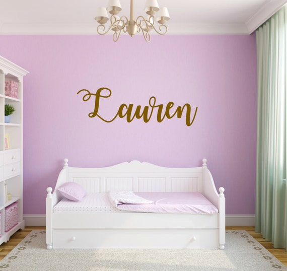 Personalized nursery decal Vinyl  Name Decal wall decal Cursive name decal nursery decal custom name decal gold vinyl decal