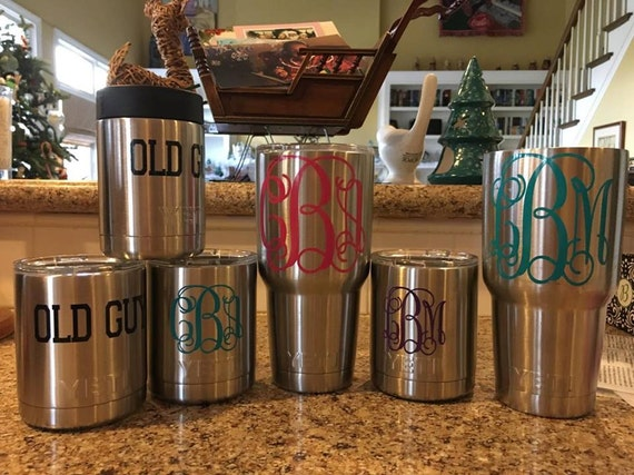 YETI TUMBLER MONOGRAM decal monogram decal colster decal vinyl monogram decal tumbler decal personalized gift monogram cup tumbler yeti sic