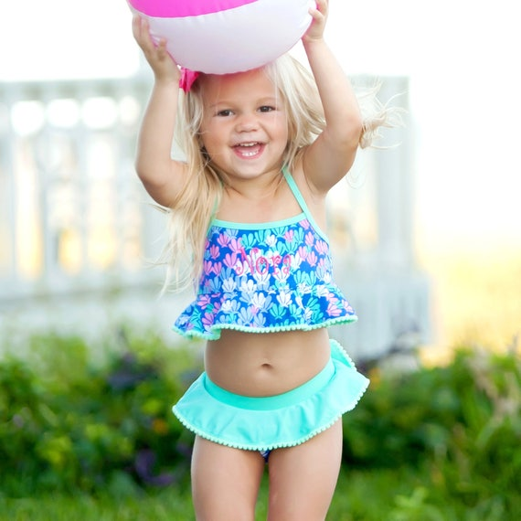mermazing Girls Monogrammed bathing suit monogram swim suit mermazing monogram swim suit Preppy swim suit baby girl swim suit