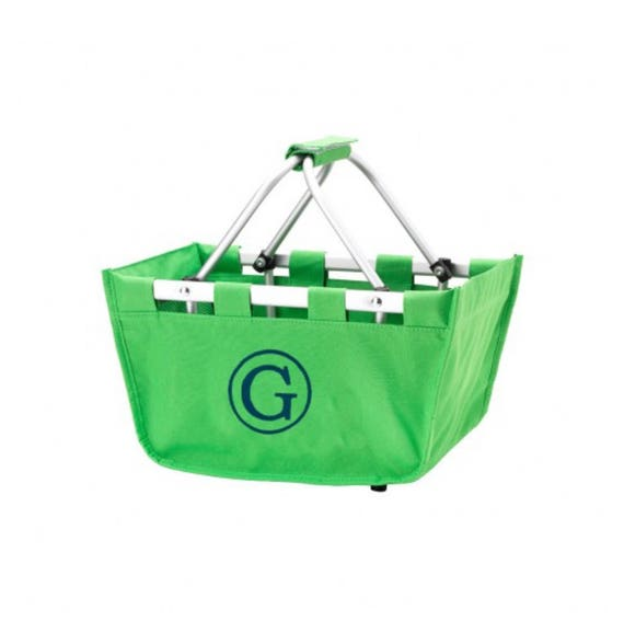 Kelly mini Market tote picnic basket tote monogram basket tote personalized tote bag tailgate tote bag college dorm shower caddy basket
