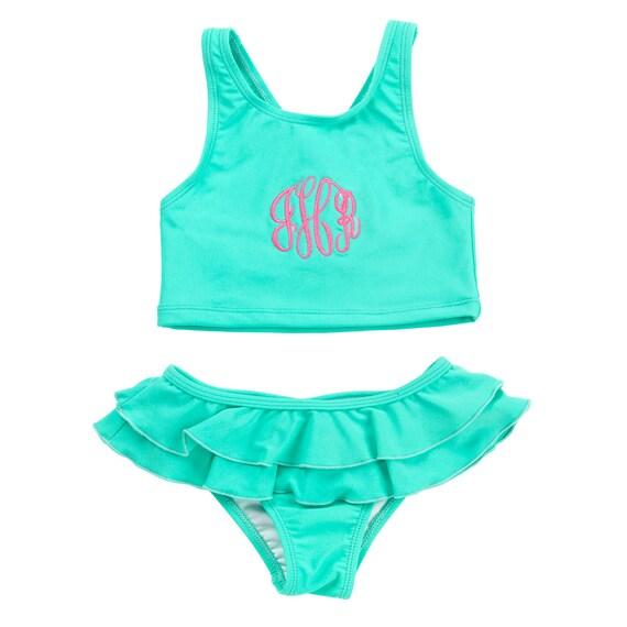 Mint girls swim suit monogrammed bathing suit girls bathing suit toddler bathing suit