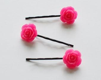 Set of 3 Pink Color Rose Resin Bobby Pin - Hair Pins - Hair Accessories - Girl Hair Pin - Bobby Pins Set - Floral Hair Bobbies