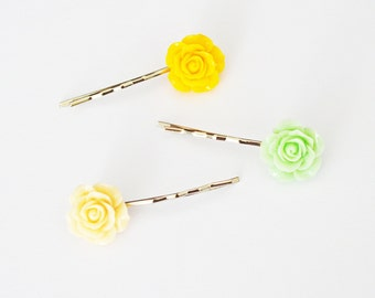 Set of 3 Assorted Color Rose Resin Bobby Pin - Hair Pins - Hair Accessories - Colorful Hair Clips - Girl Hair Pin - Bobby Pins Set