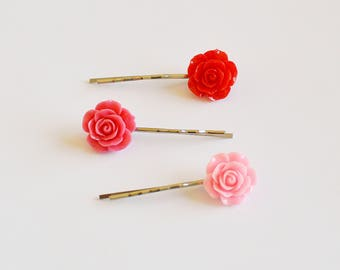 Set of 3 Assorted Color Flower Resin Bobby Pin - Hair Accessories - Girl Hair Pin - Bobby Pins Set - Flower Girl Bobby Pin - Gift Set