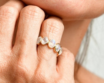 Eternity Moonstone Band Ring, Art Deco Ring, 18k Solid Gold Engagement Ring, Unique White Gemstone Wedding Ring, July Birthstone Ring