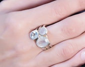 Aquamarine and moonstone ring - 925 Sterling Silver gemstone Ring- Free Shipping