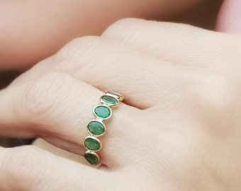 Genuine Emerald Green Ring, 18k Solid Gold Ring, Boho Gold Ring, Dainty Gemstone Ring, Real Emerald Ring, Ring For Women, Eternity Band