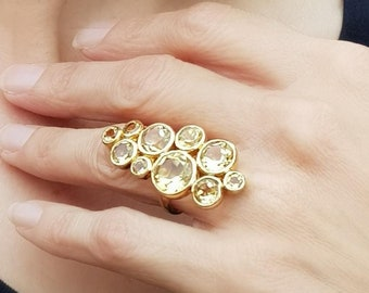 Lemon Citrine Cocktail Ring, November Birthstone Ring, Genuine Yellow Citrine Ring, Long Statement Ring, Gold Plated Silver Ring for Women