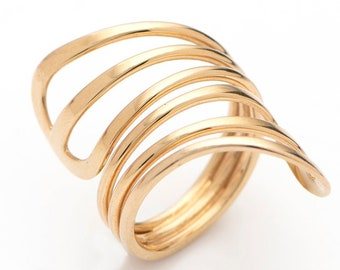 14K Solid Gold Spiral Ring, Wrap Around Ring, Adjustable Coil Ring, Wide Gold Band Ring for Women, Adjustable Gold Ring, Statement Gold Ring