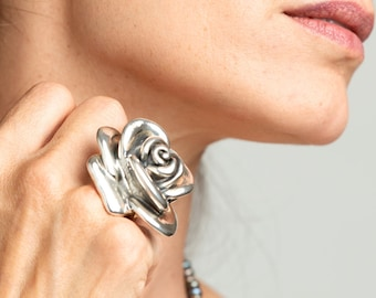 Rose Flower Ring, Large Silver Flower Ring, Unusual Silver Ring, Nature Ring, Handcrafted Boho Ring, Chunky Ring, Lightweight Ring For Women